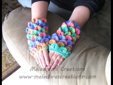 Crocodile Stitch Finger less Gloves - Left handed Crochet Tutorial