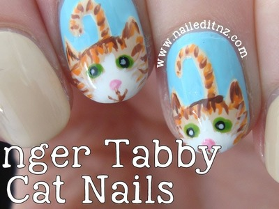 DIY Cat Nail Art | Ginger Tabby
