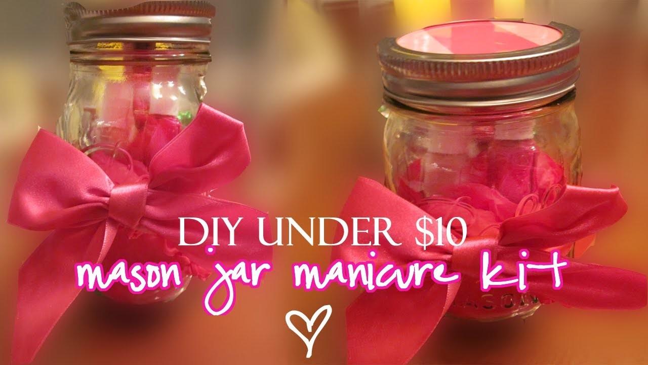 DIY Gift Under $10:  Mason Jar Manicure Kit