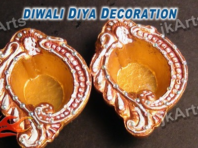 DIY How to color and decorate Diwali Diya -  JK Arts 346