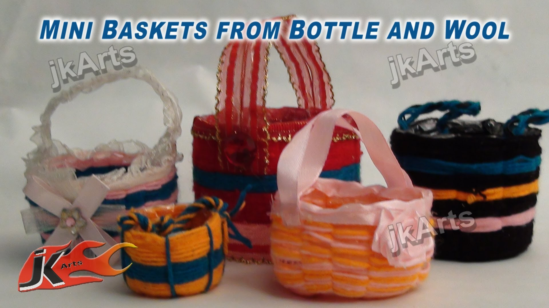 DIY How to make Mini Baskets from Bottle and wool - JK Arts 284