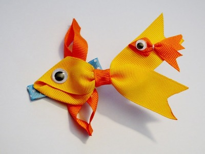 GOLDFISH Fish Ribbon Sculpture Zoo Animal Hair Clip Bow DIY Free Tutorial by Lacey