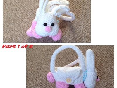 How to crochet bunny.piggy.puppy purse PART 1 (main parts of purse)
