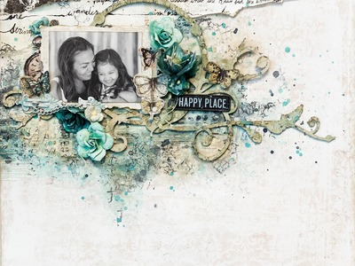 Mixed media Prima epiphany scrapbook layout.Prima may BAP challenge layout.