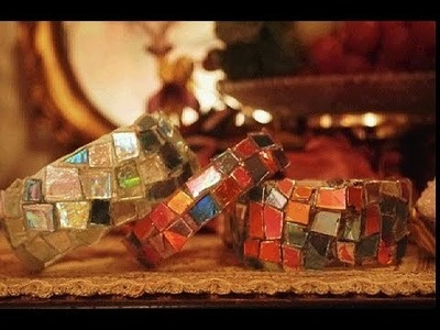 Mosaic bracelet from Old Cd's and Water Bottle .