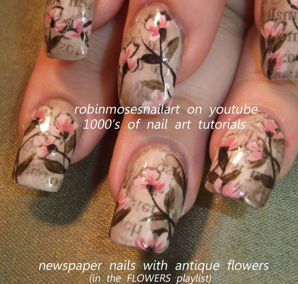 Nail Art Design, Vintage Newspaper Nails, DIY Flower Nail Art tutorial