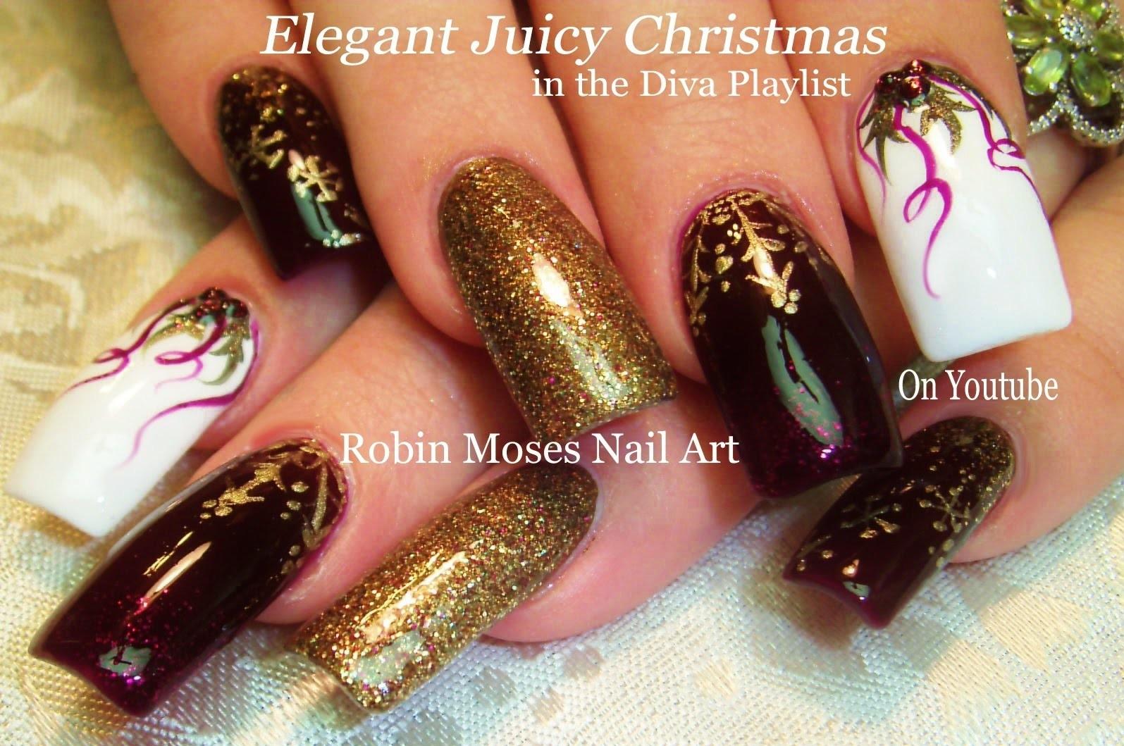 Christmas Nail Art With Bling : Nail art tutorial diy christmas xmas bling diva