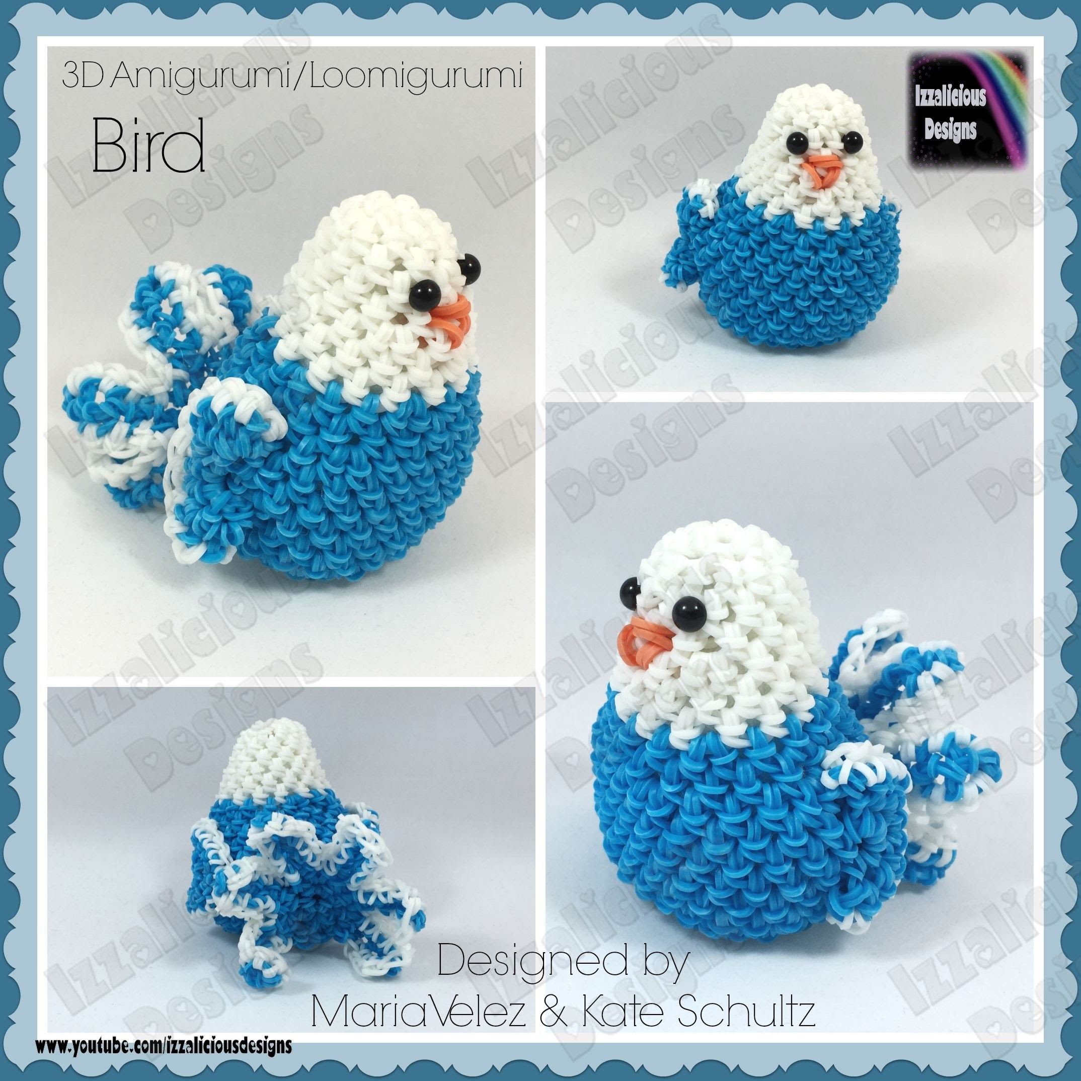 Rainbow Loom Bird Loomigurumi Amigurumi 3D Toy - crochet hook only - loomless