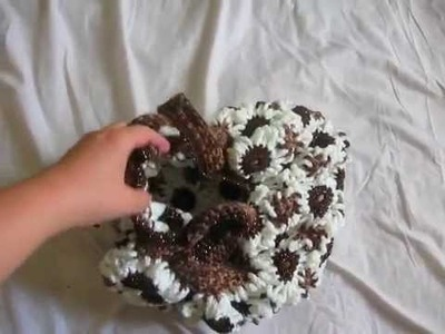 Crochet Flower Purse Brown and White