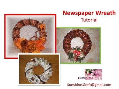 D.I.Y - Christmas Newspaper Wreath - Tutorial