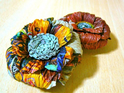 How to Make News Paper Corsage. Recycling Crafts