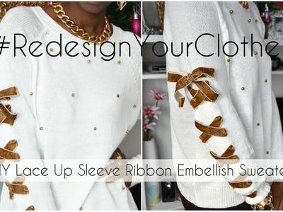 (RYC) 16: DIY Lace Up Sleeve Ribbon Embellish Sweater