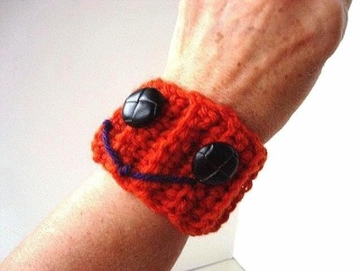 Wrist cuff to cup cozy,  how to crochet a halloween pumpkin wrist cuff, and use as a cup cozy