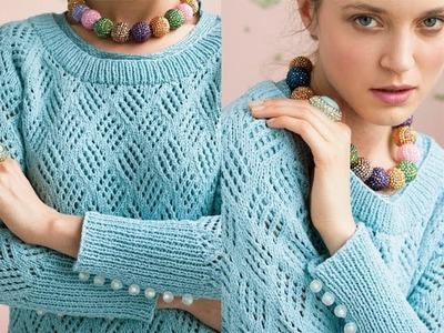#3 Checkerboard Mesh Reglan, Vogue Knitting Early Fall 2012