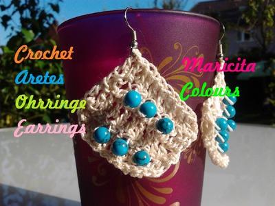 "Crochet  Tutorial Aretes ""Jennifer"".Earrings Maricita Colours English and deutsch"