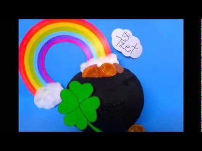 DIY. Paper Mache Gold Pot St. Patricks Day ♥ Manualidades. Papel Mache Olla de la Suerte