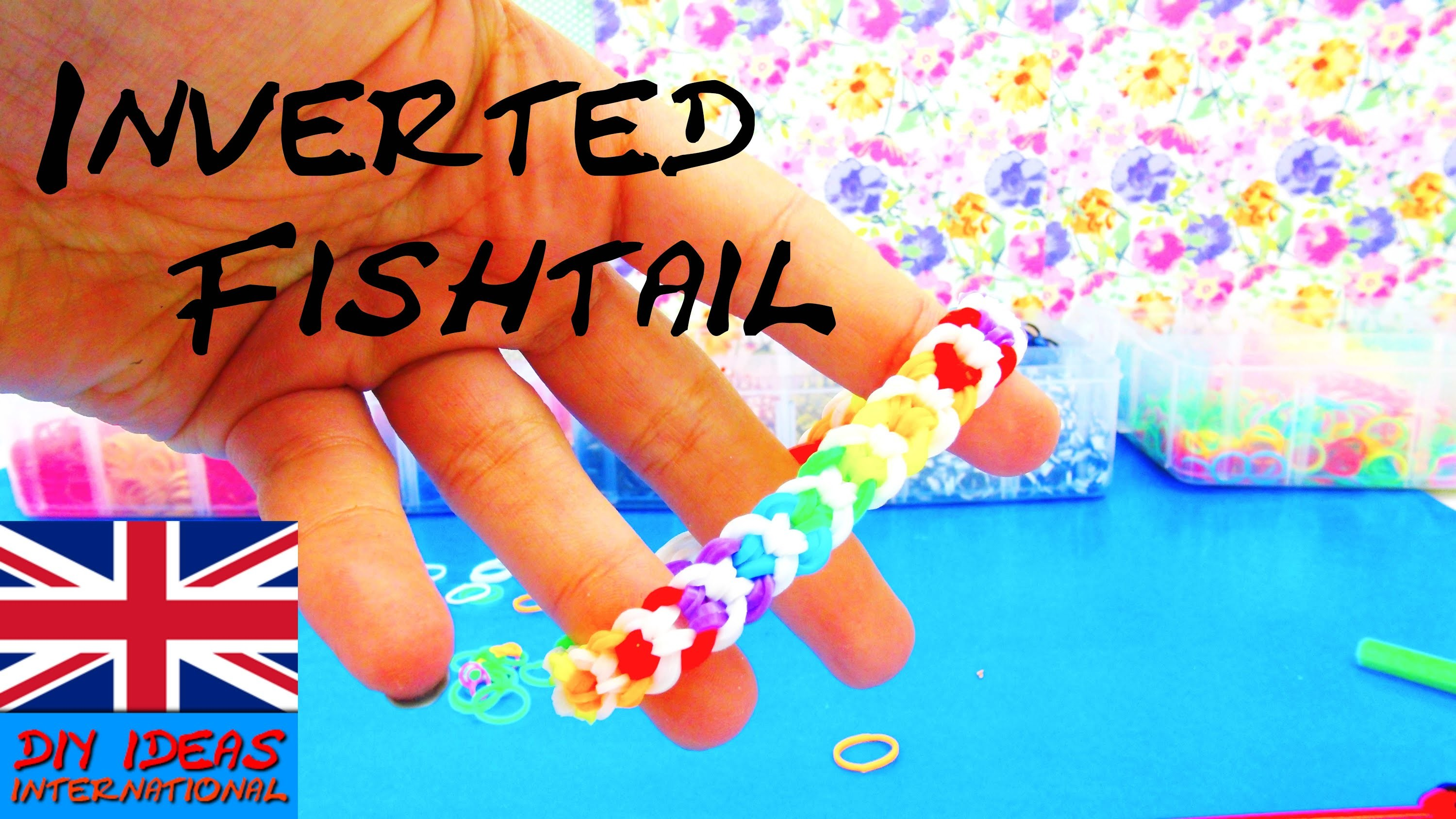 Fishtail Inverted Loom Bandz DIY Bracelet With Fork and Crochet Hook Tutorial How To | english