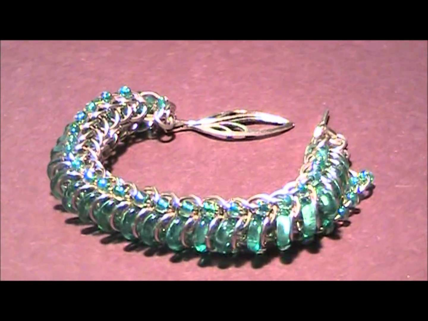 Green chainmail  bracelet