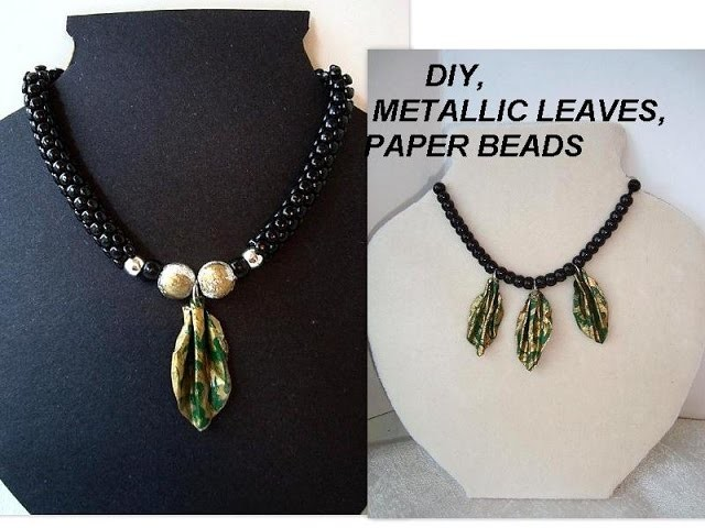 PAPER BEADS, how to make Gold Metallic Leaf Charms for jewelry making or other uses