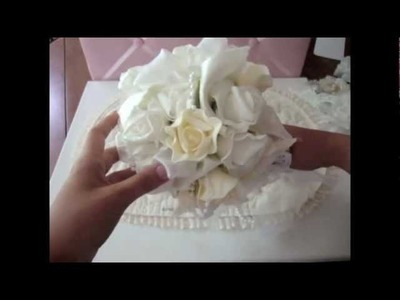 Rose Bouquet Using my Vintage Wedding Dress & Dollar Tree Roses