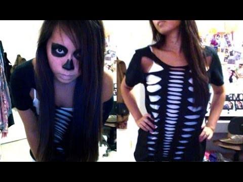 Skeleton Halloween DIY Costume & Makeup - Salinabear Cut Up T-Shirt