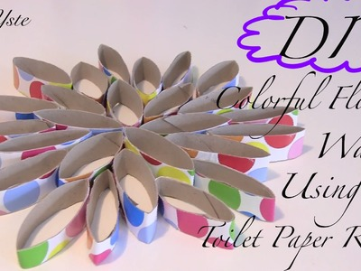 DIY - Colorful Flower Wall Using Toilet Paper Rolls (Easy Tutorial)