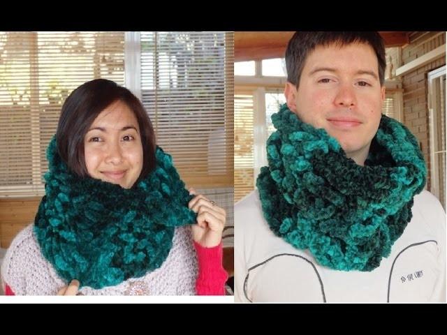 How to knit a winter neck warmer. cómo tejer un cuello (subtitulos español). Señorita wool fashion.