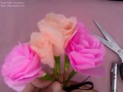 How to make tissue paper flowers : Tissue paper roses (easy tutorial)