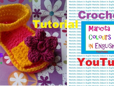 """Crochet Baby Sandals """"Kim"""" (Part 1) Free Pattern by Maricita Colours in English"""