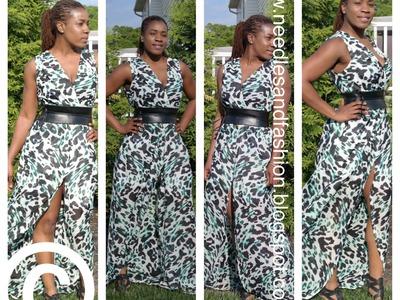 DIY M6744 Revamped front slit Maxi Dress