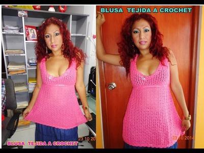4° BLUSA TEJIDA A CROCHET PASO A PASO.woven blouse