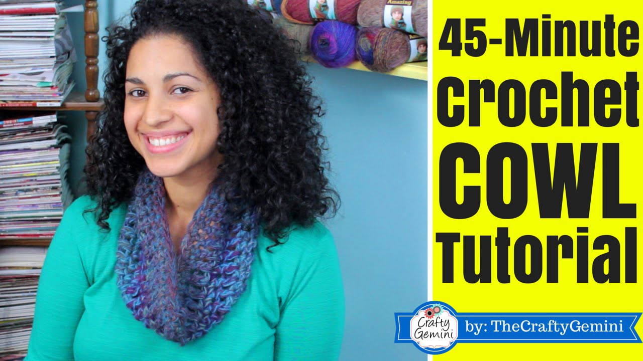 45-minute Crochet Cowl Tutorial- Lion Brand Yarn