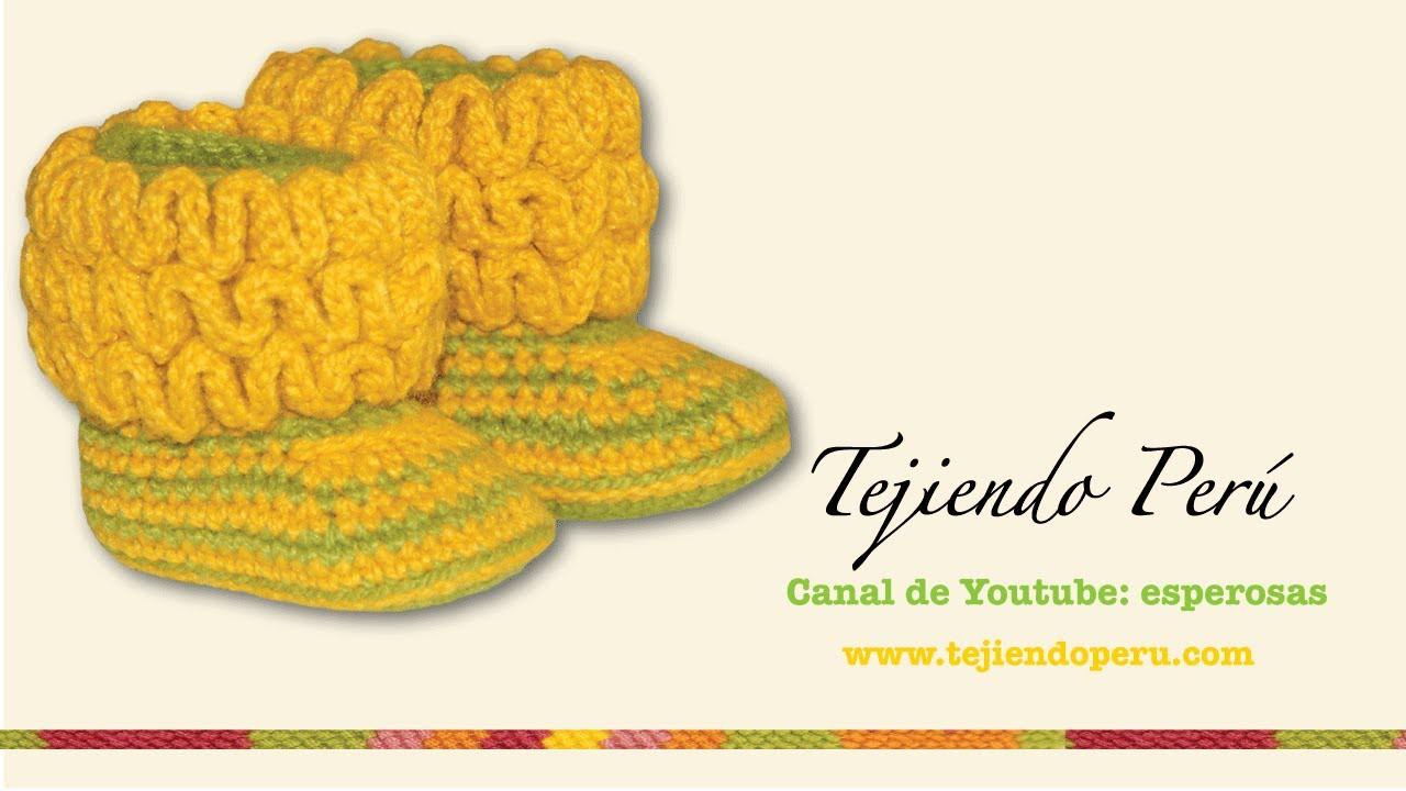 Botas con ondas para bebés tejidas en wiggle crochet (wiggle crochet baby booties): Parte 2
