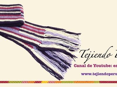 Bufanda tejida a crochet en forma horizontal