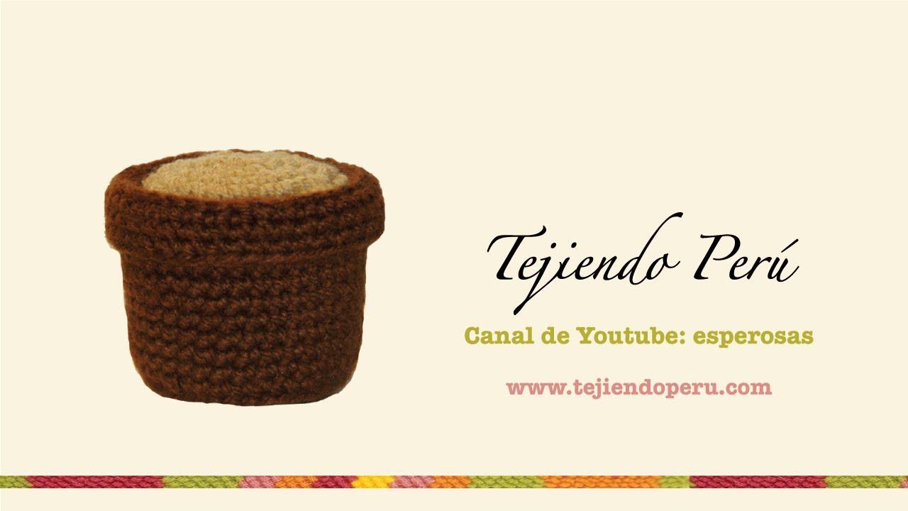 Cactus amigurumi (crochet): macetero tejido a crochet