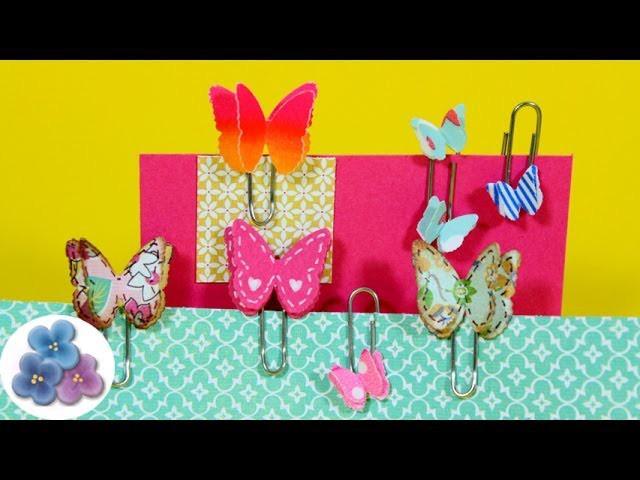 Como Hacer Clips de Mariposas DIY *How to Butterfly Clip* Scrapbook Crafts Papercrafts Pintura Facil