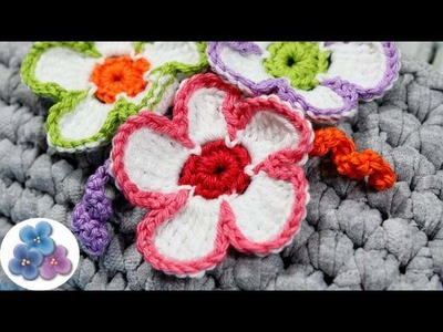 Como hacer Flores de Crochet Tricolores tutorial español diy Amigurumis Ganchillo Pintura Facil