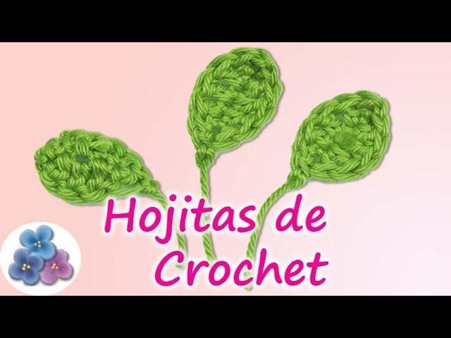 Como hacer Hojas para Flores de Crochet *Easy Crochet Leaf* Hojas Ganchillo Amigurumi Pintura Facil