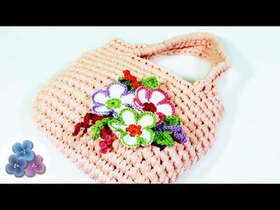 Como Hacer un Bolso de Trapillo con Flores de Crochet XXL Ganchillo Totora DIY Pintura Facil
