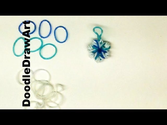 Craft:  How to Make snowflakes charms from elastic bands - zipper pull, earrings!  Crochet Hook