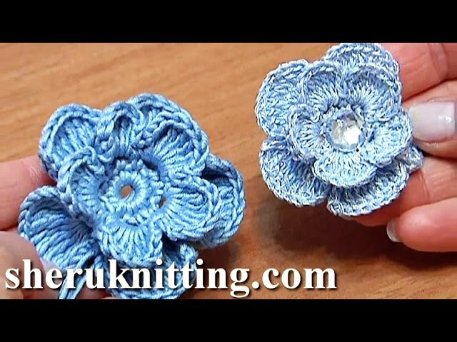 Crochet 3D Layered Flower Tutorial 6 Häkelblume