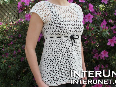 Crochet a raglan sleeve blouse - women's dress shirt crochet pattern