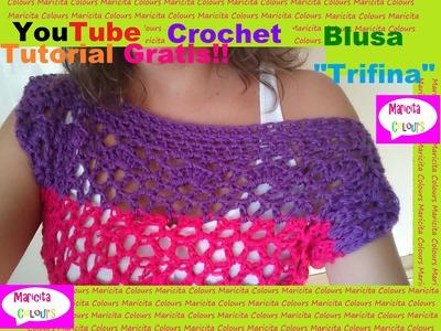 """Crochet Bella Blusa """"Trifina"""" Hombro Caído Paso a Paso (Parte 1) por Maricita Colours"""