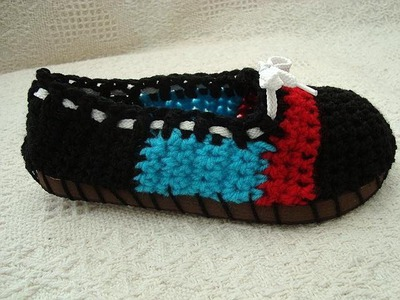 CROCHET BLACK ESPADRILLES, STREET SHOES, slipper, how to