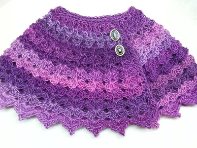 #Crochet Cute Baby Cape Shawl Poncho #TUTORIAL Closed Caption