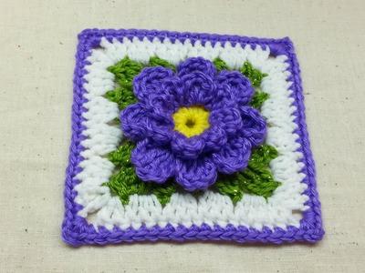 Crochet Flower Granny Square #TUTORIAL DIY Crochet