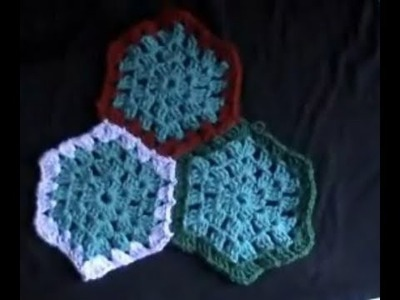 Crochet Hexagon Granny Part 1 of  5  - Tutorial includes joining