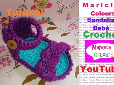 "Crochet Sandalias Bebé ""Trifina"" Zapatitos (Parte 1) por Maricita Colours"