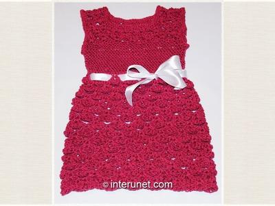 Crochet toddlers' dress using V stitch shell pattern