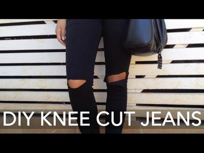 DIY Black Knee Cut Skinny Jeans Tutorial! | ShayBrit